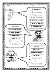English Worksheet: PERSONAL QUESTIONS - VERB TO BE