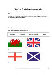 English Worksheets: �the� or  � article with geography