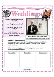 English Worksheet: *Weddings | Activity 3* Youtube clip : Father of the Bride : Comparing Cultures [2 pages]
