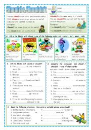 English Worksheet: Should & Shouldn´t