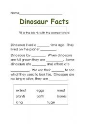 English Worksheets: dino facts