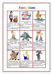 English Worksheets: FAMILY IDIOMS