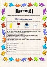 English Worksheet: Brain Teasers 1 - 2 pages + key