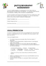 English Worksheet: Autobiography Assignment