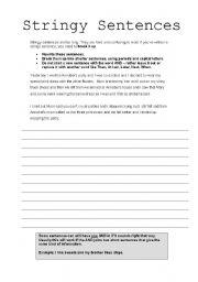English Worksheets: Stringy Sentences Worksheet