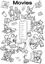 English Worksheets: Movies BW version