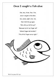 English teaching worksheets numbers for Fish songs for preschoolers