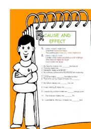 English Worksheet: cause and effect..