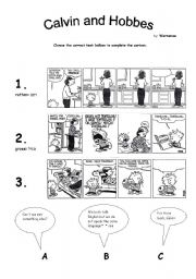 English Worksheets: Calvin and Hobbes fill in