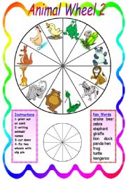 English Worksheet: Animal Wheel 2