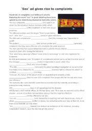 English worksheet: Sex-ad reading & exercises