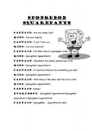 SpongeBob SquarePants Theme Song - ESL worksheet by categórica