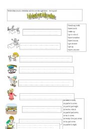 English Worksheets: Writing about daily rouine