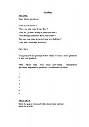 English worksheet: First Certificate Oral Part One