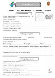 English Worksheet: a Wales webquest
