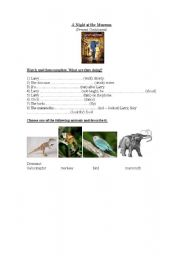 English Worksheet: Working with films/movies: A night at the museum (present continuous)