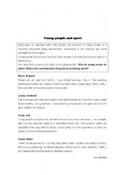 English Worksheet: Written test about Sports
