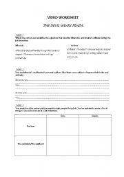 English Worksheet: The devil wears Prada video worksheet