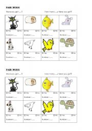 English Worksheets: how many pets have you got?