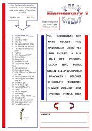 English Worksheet: Fun Sheet Elementary 1