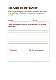 English Worksheets: CLASS CONTRACT