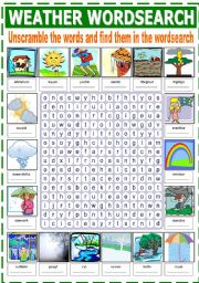 English Worksheet: THE WEATHER (WORDSEARCH)