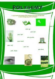 English Worksheet: Polysemy - Green