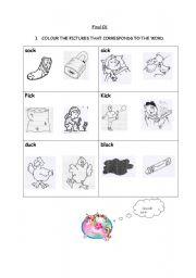 English worksheet: Final Ck Vocabulary Words Sound K