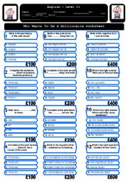 English Worksheet: The Who wants to be a millionaire worksheet