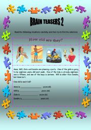 English Worksheets: Brain teasers 2 - 2 pages + key
