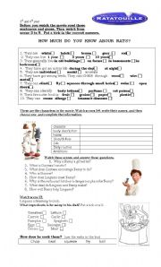 English Worksheets: RATATOUILLE movie guide/activity