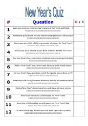Vocabulary worksheets > Holidays and traditions > New year