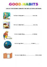 English worksheets: good and bad habits and have to (5pages)