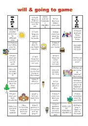 English Worksheet: will and be going to game (future game)