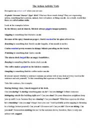 English Worksheets: Action verb state
