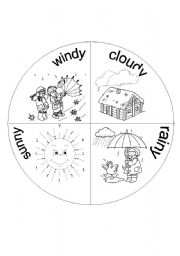 English Worksheet: weather wheel part 2 of 2