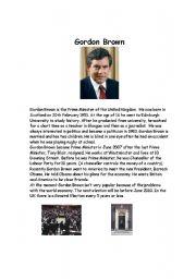 English Worksheet: British Politics - Gordon Brown Lesson - 6 pages