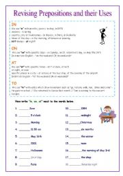 Revising Prepositions and their Uses - Short Description included.