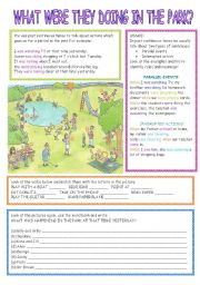 English Worksheet: What were they doing in the park?:past continuous