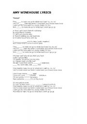 English Worksheet: Rehab ,song by Amy Winehouse