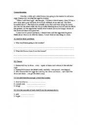 English Worksheets: Nice easy comprehension sheet