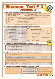 English Worksheet: Grammar Test # 3 - includes versions A and B