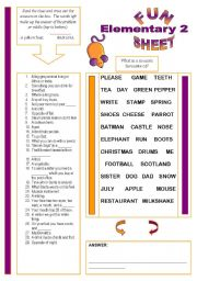 English Worksheet: Fun Sheet Elementary 2