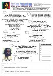 English Worksheet: Bob Marley - Get up, Stand up