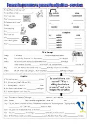 English Worksheet: Possessive pronouns or adjectives?