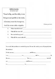 English Worksheets: Jabberwocky Handout