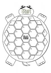 English Worksheets: Turtle Gameboard Black and White (Matching Cards Available in Another File)
