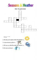 english worksheets seasons and weather puzzle. Black Bedroom Furniture Sets. Home Design Ideas