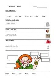 English Worksheets: Senses - Feel