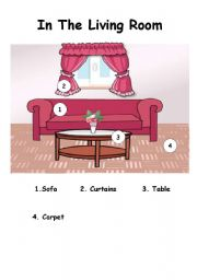 English Worksheet: IN THE LIVING ROOM THERE IS...